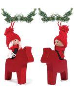 Tomte on a Dala Horse Ornaments