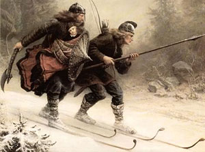 Torstein Skjevla and Skjervald Skrukka escaping on skis