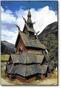 Borgund stave church in Laerdal in Sogn