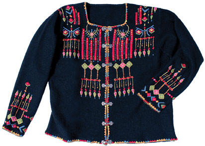 Vrikke Black Embroidered Jacket Sweater